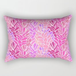 Tropical Ginger Blossom Vines in Pink + Coral Rectangular Pillow