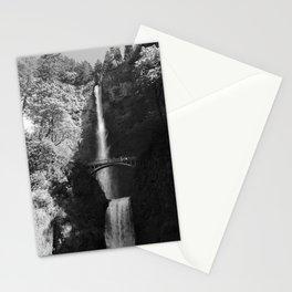 Multnomah Falls Oregon Waterfall Black and White Stationery Cards