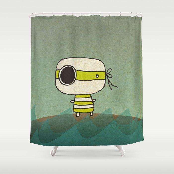 Green Pirate Shower Curtain