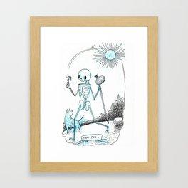 The Fool Skeleton Tarot Framed Art Print