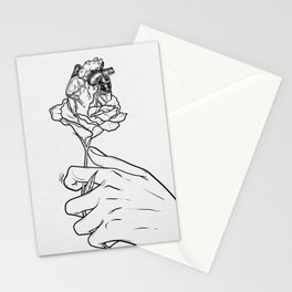 Flowery heart given. Stationery Cards