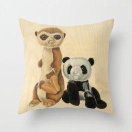 BFFs  (Meerkat and Panda) Throw Pillow