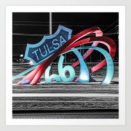 Tulsa Oklahoma's Route 66 Rising Landmark Sculpture in Selective Color 1x1 Art Print