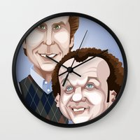 will ferrell Wall Clocks featuring Step Brothers by Leo Maia