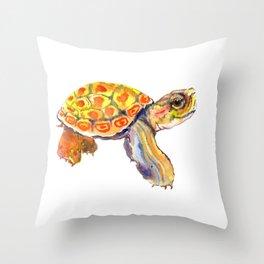 Orange Baby Turtle Throw Pillow