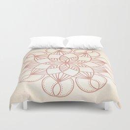 Mandala Blooming Rose Gold on Cream Duvet Cover