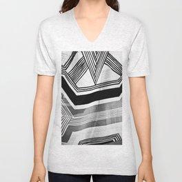 Modern Zebra Abstract Unisex V-Neck