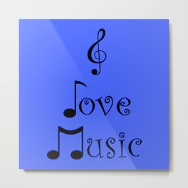 I Love Music - Beatbox Blue Metal Print