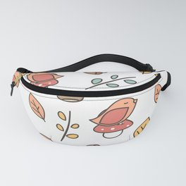 cute lovely autumn fall pattern with birds, mushroom, leaves, branches, acorns and chestnuts Fanny Pack