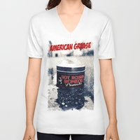 grease V-neck T-shirts featuring American grease by Vorona Photography