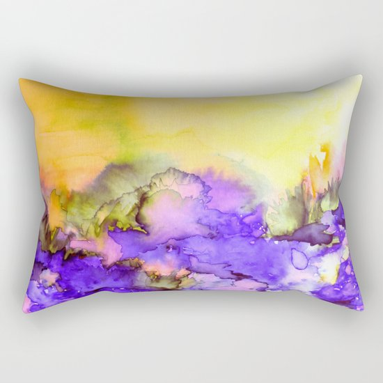 INTO ETERNITY, YELLOW AND LAVENDER PURPLE Colorful Watercolor Painting Abstract Art Floral Landscape Rectangular Pillow