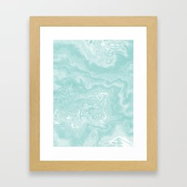 Moki - pastel mint spilled ink japanese watercolor paper marbling marble trendy abstract painting  Framed Art Print