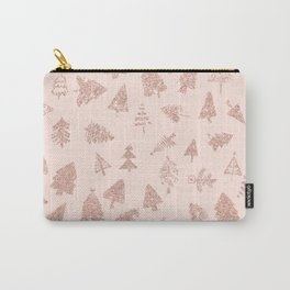 Modern rose gold glitter Christmas trees pattern on blush pink Carry-All Pouch
