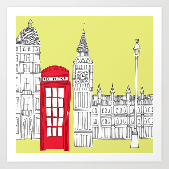 Capital Icons III // London Red Telephone Box Art Print