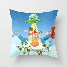 Santa Claus Abducted by a UFO just before Christmas Throw Pillow