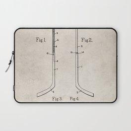 Ice Hockey Stick Patent - Ice Hockey Art - Antique Laptop Sleeve