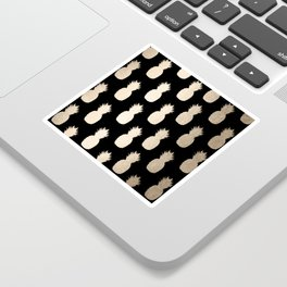 Gold Pineapples Pattern Black Sticker