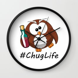 #ChugLife Drunk Owl Wall Clock