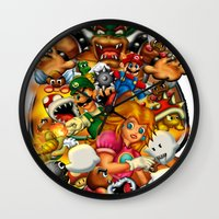 mario bros Wall Clocks featuring Super Mario Bros. Battle by Magik Tees