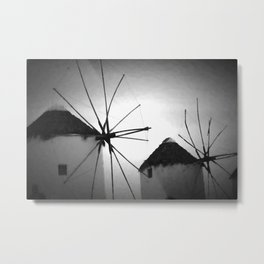 Black and White Mykonos Metal Print