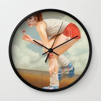 pinup Wall Clocks featuring Pinup by Morgan Soto