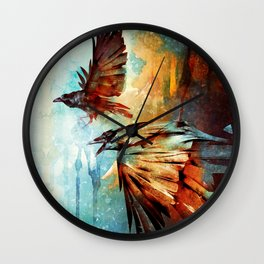 Crows in Flight Wall Clock