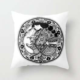 cat & girl mandala Throw Pillow