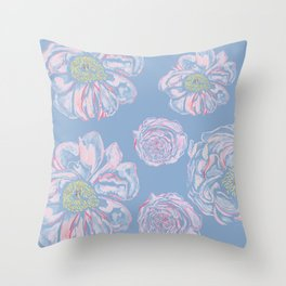 Abstract Flowers Blue #society6 #buyart Throw Pillow
