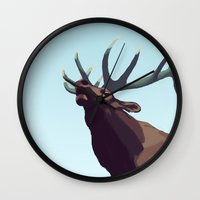 elk Wall Clocks featuring Elk by Of Newts and Nerds
