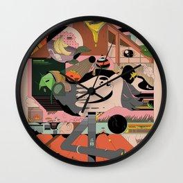 Modern Pizza Bird House Wall Clock