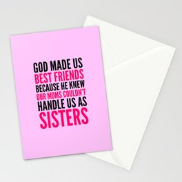 GOD MADE US BEST FRIENDS BECAUSE (PINK) Stationery Cards