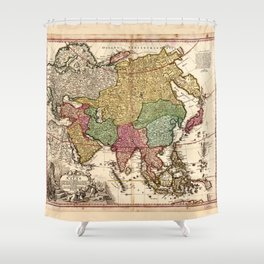 Map of Asia (1743) Shower Curtain