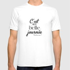 Une belle journée White SMALL Mens Fitted Tee