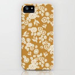 Bee Garden - linocut art, mustard, yellow, garden floral, home decor, bees, florals, flowers print iPhone Case
