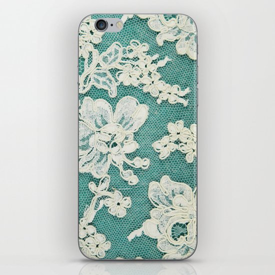 white lace - photo of vintage white lace iPhone & iPod Skin