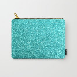 Aqua Blue Glitter Carry-All Pouch