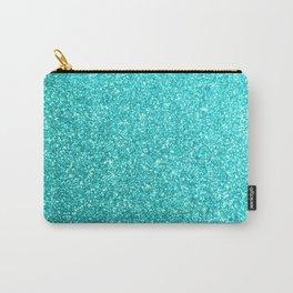 Aqua Blue Glitter Carry-All Pouch