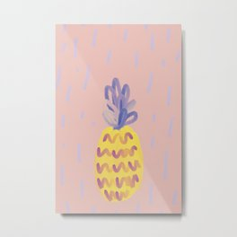 Pineapple Memphis #pineapple #pink Metal Print
