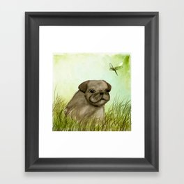 Pug in the grass Framed Art Print