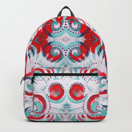 Happy Swirls in Red and Teal Backpack