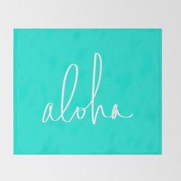 Aloha Tropical Turquoise Throw Blanket