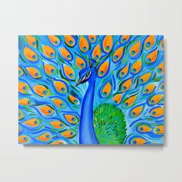 Peacock with Aqua and Turquoise Metal Print