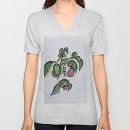 Hanging Raspberries Unisex V-Neck