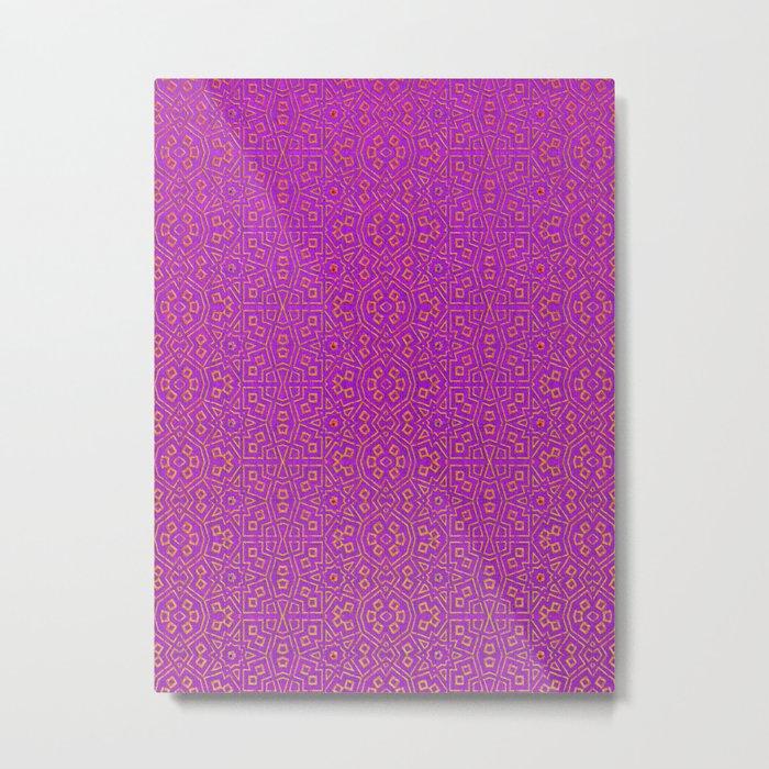 Magenta Tribal Pattern Metal Print