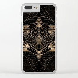 Eagle in Sacred Geometry Composition - Black and Gold Clear iPhone Case
