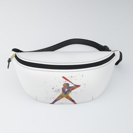 Baseball player isolated 09 in watercolor Fanny Pack