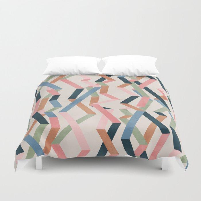 Straight Geometry Ribbons 1 Duvet Cover