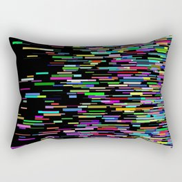 rainbow bars zooming across black space Rectangular Pillow