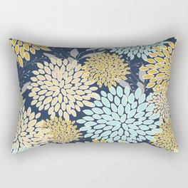 Floral Prints and Leaves, Navy Blue, Aqua, Yellow and Gray Rectangular Pillow
