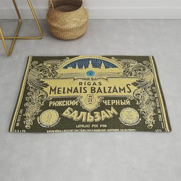 Vintage 1950 Rigas Melnais Balzams Wine Bottle Blue Label Print Rug